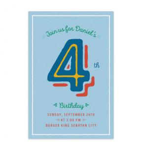 Lined Number (Kids Birthday Set of 6)