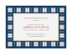 Nifty Plaid (Baby Announcement Set of 6)