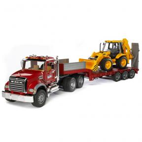 Bruder Toys 2813 - MACK Granite Truck with Low loader and JCB 4CX Backhoe loader