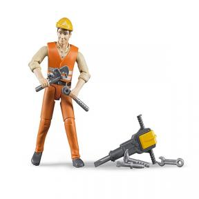 Bruder Toys 60020 Construction Worker With Accessories Action Figure