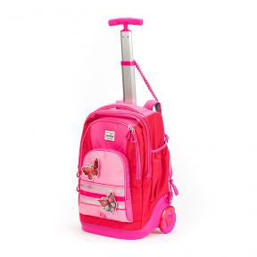 Stardust 2 in 1 Backpack and Trolley Pink Butterfly