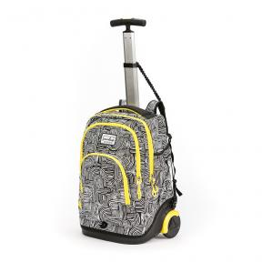 Stardust 2 in 1 Backpack and Trolley Black with White Lines