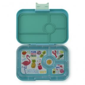 Yumbox Tapas Antibes Blue 4C Flamingo Tray
