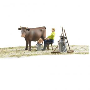 Bruder 62605 Farming Milking Set with Figure and Cow - Multi Color