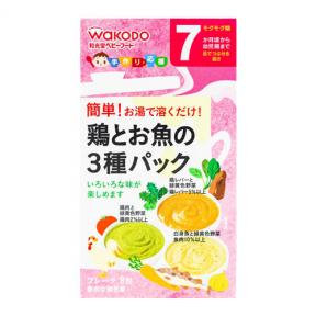 Wakodo 3 Kinds of Powdered Brightly Colored Vegetables With Codfish, Chicken, Liver (7mths+)