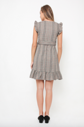 Joanna Plaids Dress in brown
