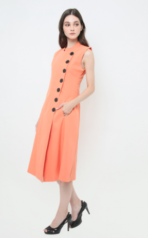 Opulence modern qipao in orange