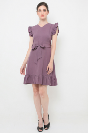 Crepes Joanna Dress in purple