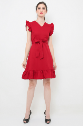 Crepes Joanna Dress in red