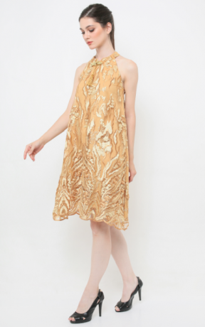 Gold Prosperity Qipao (mountain pattern)