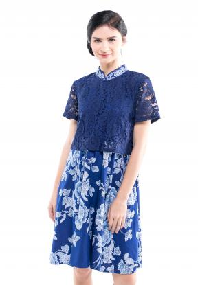CA.29003 BLUE ALEENA LACE ENCIM DRESS - XXXL -