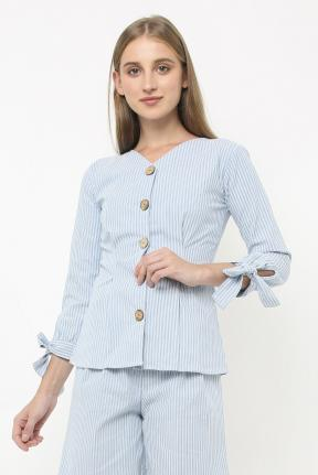 Maggie Top in light blue stripes