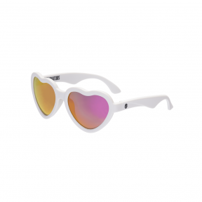 Babiators The Sweetheart White Hearts with Pink Mirror Classic Ages 3-5 Sunglasses