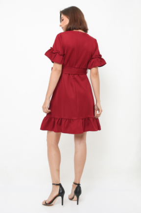 Joy Dress in maroon