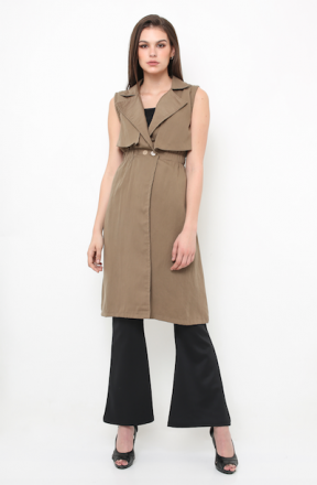 Harper trench vest in mocca