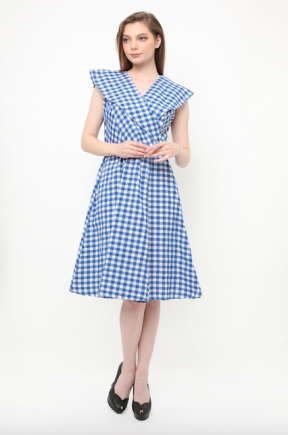 Gingham dress in blue