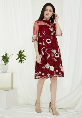 CA.2194 MAROON VALERI LACE DRESS
