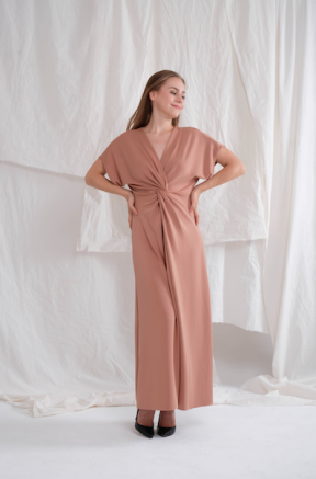 Abigail long gown in salmon