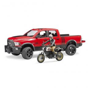 Bruder Toys - RAM 2500 Power wagon with Ducati Scrambler Desert Sled and driver