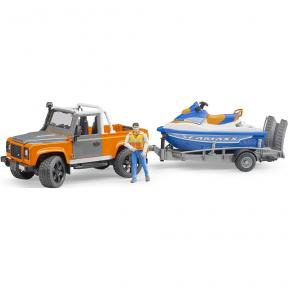 Bruder Toys 2599 - Land Rover Defender Pick up + trailer, Personal water craft and driver