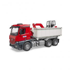 Bruder Toys 3624 -MB Arocs Truck with Roll-off-container + Schaeff HR16 mini excavator