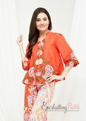 CA.1220 ORANGE KEBAYA BOLERO TOP