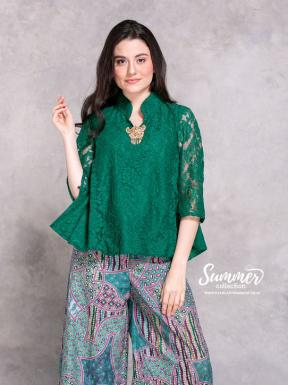 CA.1230 GREEN TIANA LACE TOP