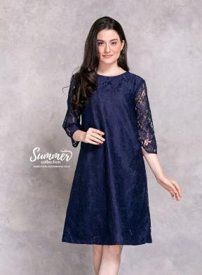CA.2201 BLUE NATALIA LACE DRESS