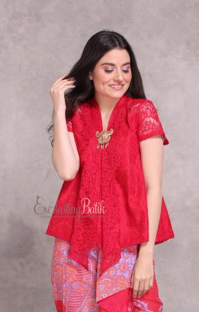 CA.1126 RED KARTIKA SHORT SLEEVE LACE TOP