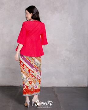 CA.1050 RED KEMILAU DOBBY EMBROIDERY TOP Embroidery Top - PO7DAYS