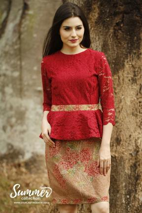 CA.2185 MAROON KANAYA LACE DRESS