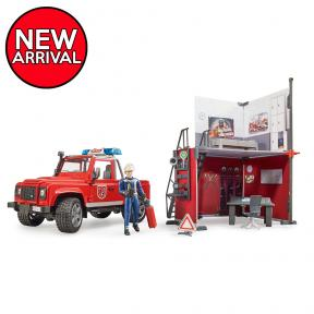 Bruder 62701 - bworld Fire station with Land Rover Defender