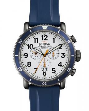 Shinola 48mm Runwell Sport Chronograph Watch with Rubber Strap, Navy