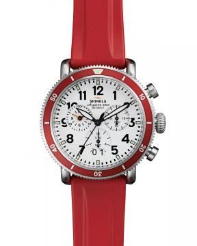 Shinola 42mm Runwell Sport Chronograph Watch with Rubber Strap, Red