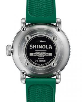 Shinola 48mm Runwell Sport Watch with Rubber Strap, Green