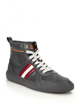 Bally Heimberg Leather High-Top Sneakers