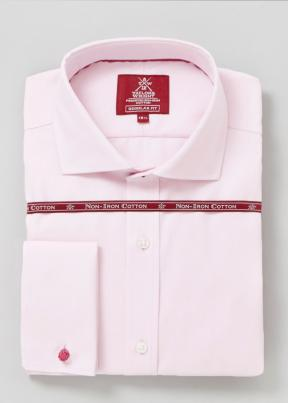 Non Iron Regular Fit Pink Twill Shirt