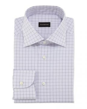 Zegna Woven Graph Check Dress Shirt, Purple
